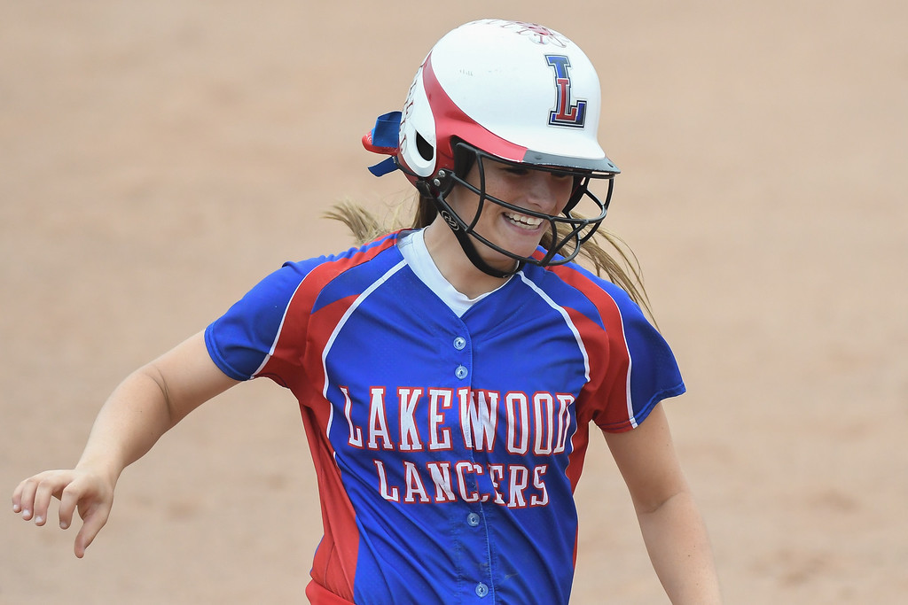 . Eric Bonzar�The Morning Journal Herbron Lakewood\'s Kaitlyn Peacock rounds third after hitting a three-run home run in the second inning, June 4, 2016.