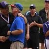 Eric Bonzar—The Morning Journal<br /> Head Coach Jim Piazza congratulates Hebron Lakewood Head Coach Criss Nadolson on his team's state championship win, June 4, 2016.