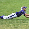 Eric Bonzar—The Morning Journal<br /> Keystone's Paige Hartley lays out for a fly ball, in the top of the first inning, June 4, 2016.