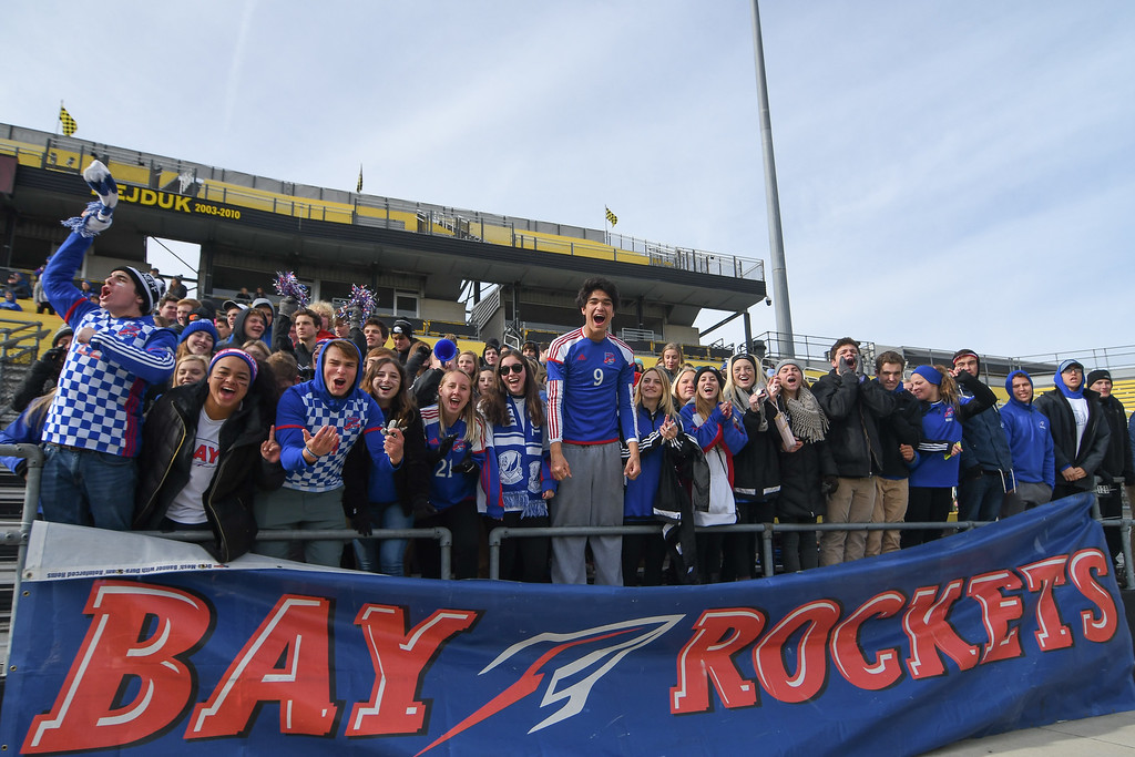. Eric Bonzar�The Morning Journal<br> The Bay student section came out to cheer on their soccer team for the D-II State Soccer Championship game against Columbus St. Francis DeSales, Nov. 11, 2017.