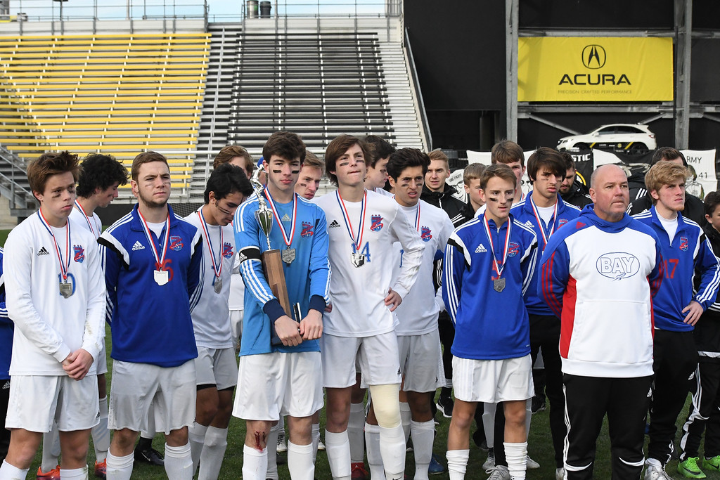 . Eric Bonzar�The Morning Journal<br> The Bay Rockets fell 4-0 to Columbus St. Francis DeSales in the D-II State Soccer Championship game, Nov. 11, 2017.