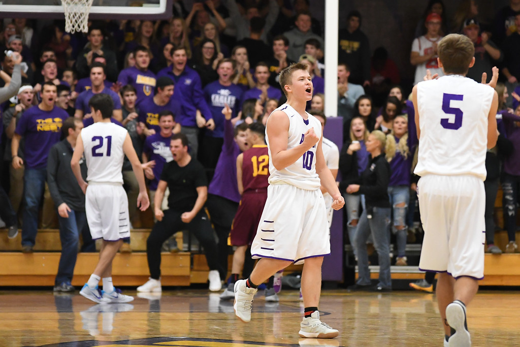 . Eric Bonzar�The Morning Journal Avon\'s Jacob Chasteen (10) pumps his fist as the Eagles take their first lead of the game against the Shoremen, Dec. 9, 2016.