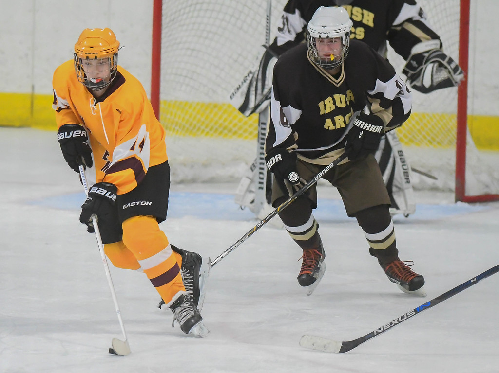 . Eric Bonzar�The Morning Journal Avon Lake\'s Justin Share (14) clears the puck from Brush defender Charlie Cole (16).