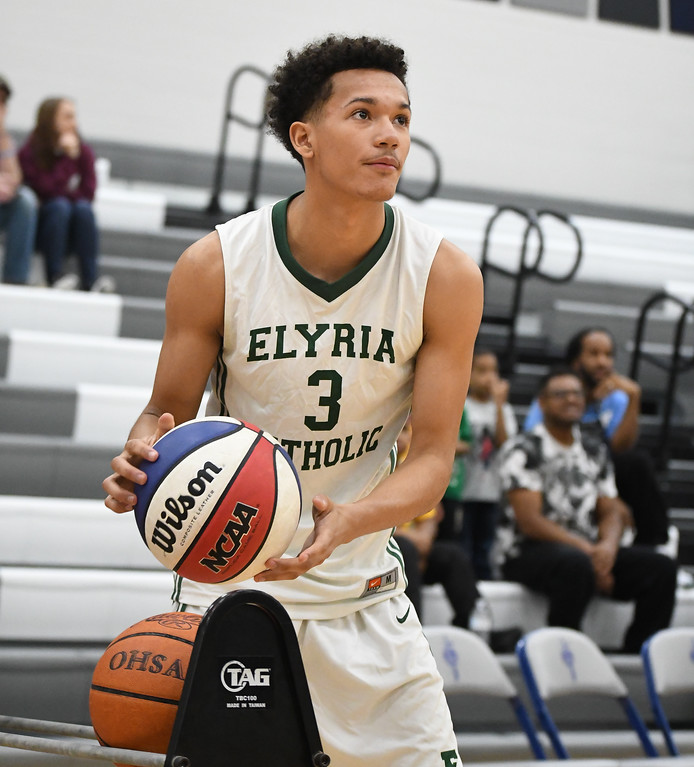 . Eric Bonzar�The Morning Journal Elyria Catholic\'s Dorian Crutcher competes in the 3rd Coast Hoops 3-point contest, April 15, 2017.