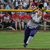 Eric Bonzar—The Morning Journal<br /> Keystone's freshman left fielder Marlie McNulty makes a running catch for the out.