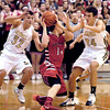 Lapel's Brady Cherry and Noah Herdershot double up on defense aganist Tanner Davis of Wapahani.