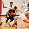 John P. Cleary | The Herald Bulletin<br /> The Liberty Christian Lions plays Seton Catholic Cardinals in boys basketball.