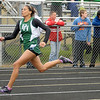 Pendleton Heights' Brandi Mathews wins the 100-meter dash during the Madison County Track and Field Championships at Madison-Grant on Friday.