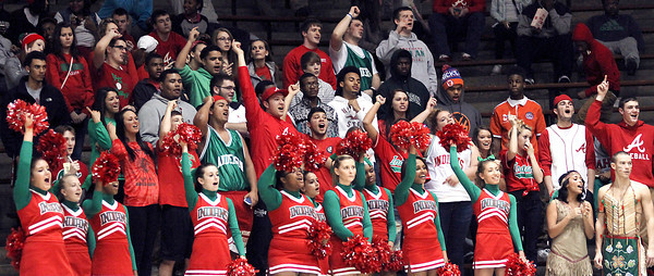 Anderson fans and cheerleaders cheer on the Indians in a loss to the Arabians Wednesday night.