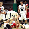 Anderson and Pendleton Height's players fight for a loose ball in the Sectional game Wednesday night.