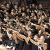 Photo by Chris Martin for THB/ The Arabian student section cheers on the team after Wednesday nights Sectional win against Anderson.