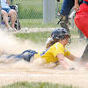 Don Knight | The Herald Bulletin<br /> Shenandoah's Taylor Vaccaro slides into home plate as the Raiders faced the Frankton Eagles in the Sectional championship at Lapel High School on Wednesday.
