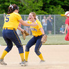 Don Knight | The Herald Bulletin<br /> Shenandoah pitcher Rachel Krathwohl (5) and Ellie Ridder celebrate after the final out in the Raiders sectional championship win over Frankton at Lapel High School on Wednesday.