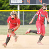 Don Knight | The Herald Bulletin<br /> Frankton's Ashtyn Rastetter fields the ball and looks to throw to first during the sectional championship at Lapel High School on Wednesday.
