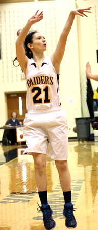 Chris Martin | for The Herald Bulletin<br /> Shenandoah's Abby Roeder takes a 3 pointer Saturday in a Regional loss to Wabash.