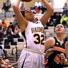 Chris Martin   for The Herald Bulletin<br /> Rachel Krathwohl goes for a layup for the Lady Raiders Saturday in a Regional loss against Wabash.