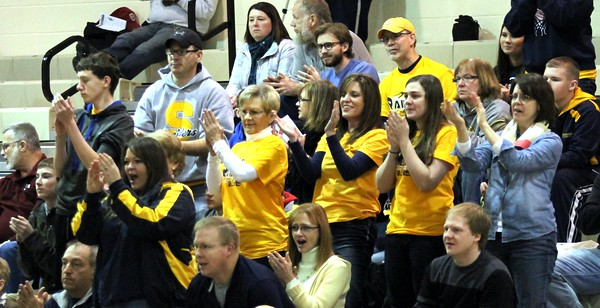 Chris Martin | for The Herald Bulletin<br /> Shenandoah fans cheer as the Lady Raiders attempted to come back late in the Regional game Saturday against Wabash.