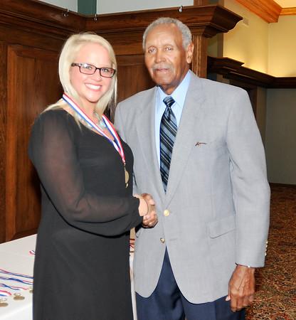 John P. Cleary | for The Herald Bulletin<br /> 2016 Johnny Wilson Award Nominee Stacie Farmer of Alexandria HS with Johnny Wilson.