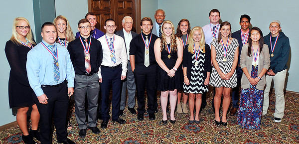 John P. Cleary | for The Herald Bulletin<br /> The 2016 Johnny Wilson Award Nominees with Carl Erskine and Johnny Wilson.