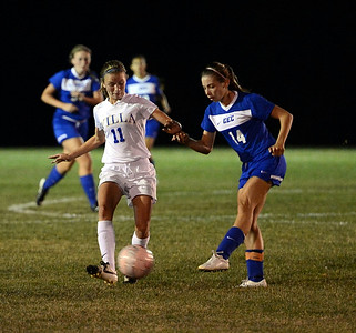 Villa Jo's Alyssa Dionsio (L) and Conwell-Egan's Maddy Wojton perform soccer ballet in recent Jems' battle with the Lady Eagles.