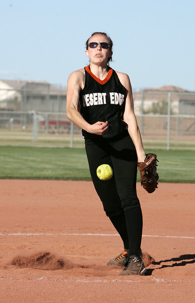 #9 (Name) of Desert Edge pitches the final innings of the matchup against Dysart High School on Mar 30, 2007.