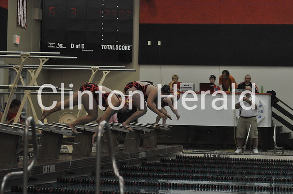 Dav. Central at Clinton girls swimming (10-7-13)
