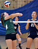 Pennridge's Julia McKinney ,11, sets a shot against North Penn during their contest at North Penn High School on Wednesday September 25,2013. Photo by Mark C Psoras/The Reporter