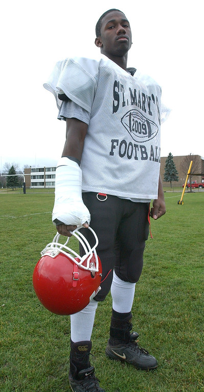 . Orchard Lake St. Mary\'s High School football player-- Gary Hunter.  Photo taken on Wednesday, November 25, 2009, at OLSM HS in Orchard Lake, Mich.  (The Oakland Press/Jose Juarez)