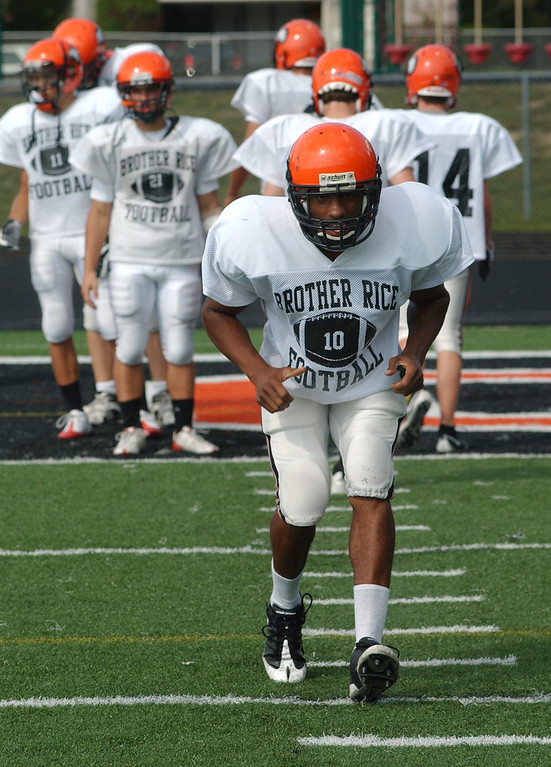 . Birmingham Brother Rice High School football player-- Kevonte Martin-Manley.  Photo taken on Tuesday, September 15, 2009, at Brother Rice HS in Bloomfield Hills, Mich.  (The Oakland Press/Jose Juarez)