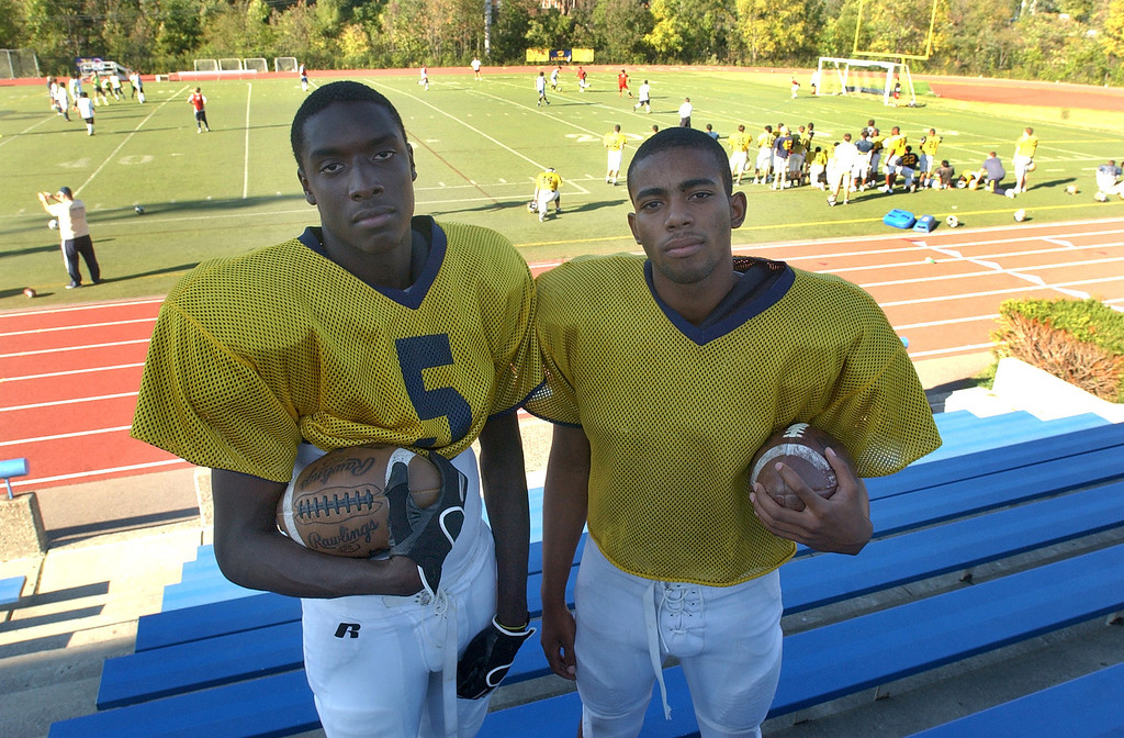 . Birmingham Detroit Country Day High School football players Kenny Knight, left, annd Josh Harris.  Photo taken on Monday, September 13, 2010, at Country Day HS in Beverly Hills, Mich.  (The Oakland Press/Jose Juarez)