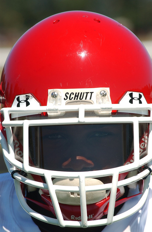 . Orchard Lake St. Mary\'s High School football helmet.  Photo taken on Tuesday, August 19, 2008, in at Orchard Lake HS in Orchard Lake, Mich.  (The Oakland Press/Jose Juarez)