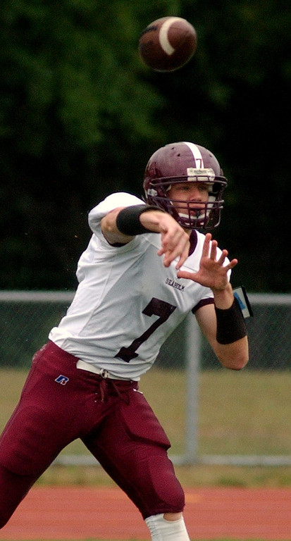 . Birmingham Seaholm High School football quarterback Jack Quigley passes against Southfield in the first quarter, Friday, September 5, 2008, in a game played at Southfield HS in Southfield, Mich.  (The Oakland Press/Jose Juarez)