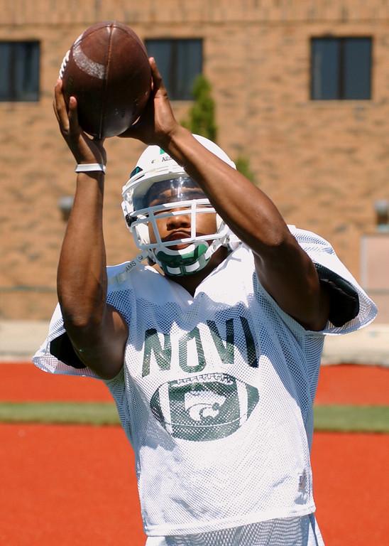 . Novi High School football player-- Brandon Carnegie.  Photo taken on Tuesday, August 15, 2006, at Novi HS in Novi, Mich.  (The Oakland Press/Jose Juarez)