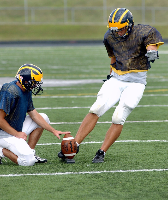 . Clarkston High School football kicker Ryan Breen, right, practices kicking field goals as the ball is held by teammate Eric Ogg.  Photo taken during practice, Tuesday, August 22, 2006, at Clarkston HS in Clarkston, Mich.  (The Oakland Press/Jose Juarez)