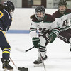 Billerica-Chelmsford co-op girls hockey vs Andover. Andover's Gabby Vaccaro (19) and Billerica-Chelmsford's Sam Fantasia (15) and #20 (not on roster). (SUN/Julia Malakie)