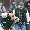 Billerica vs Chelmsford Thanksgiving Day football. Billerica alums Scott Murphy '17, left, and Ryan Quinn '18, react to Billerica stopping a Chelmsford run. (SUN/Julia Malakie)