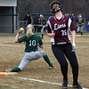 Billerica vs Chelmsford softball. Chelmsford's Emma Gelineau (35) is out on a ground ball in the top of the third inning, with Billerica first baseman Jacquie Schwalm (10) fielding the throw. (SUN/Julia Malakie)