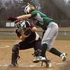 Billerica vs Chelmsford softball. Billerica's Bella Tassone (6) is tagged out at home by Chelmsford catcher Sydney Alto (9) in the bottom of the first inning. (SUN/Julia Malakie)