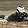 Billerica vs Chelmsford softball. Billerica's Abby Iozzo (8) is safe at third on a double by Bella Tassone in the bottom of the first inning. (SUN/Julia Malakie)