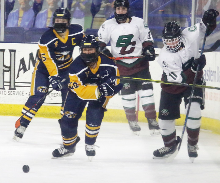 Billerica/Chelmsford vs Andover girls hockey in Merrimack Valley Conference championship. Andover's Jacqueline Haney (18) and B/C's Victoria Apostolakes (11).  (SUN/Julia Malakie)