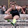 Billerica vs Dracut track meet. Dracut's Casey Holmes, who won Girls 100M Hurdles. (SUN/Julia Malakie)