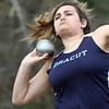 Billerica vs Dracut track meet. Dracut's Juliana DeMartino in Shot Put. (SUN/Julia Malakie)