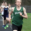 Billerica vs Dracut track meet. Billerica's Brandon Marion with an early lead in Boys 2 Mile, which he won. (SUN/Julia Malakie)