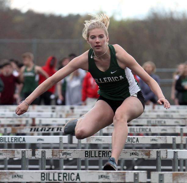 Billerica vs Dracut track meet. Billerica's Madison Callery, who finished 3rd in 100M Hurdles. (SUN/Julia Malakie)