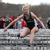 Billerica vs Dracut track meet. Billerica's Madison Callery, who finished 3rd in 100M Hurdles. (SUN/Julia Malakie)