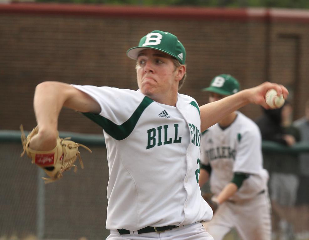. Billerica vs Tewksbury baseball. Billerica pitcher Ryan Murphy (20) pitches to Tewksbury. (SUN/Julia Malakie)