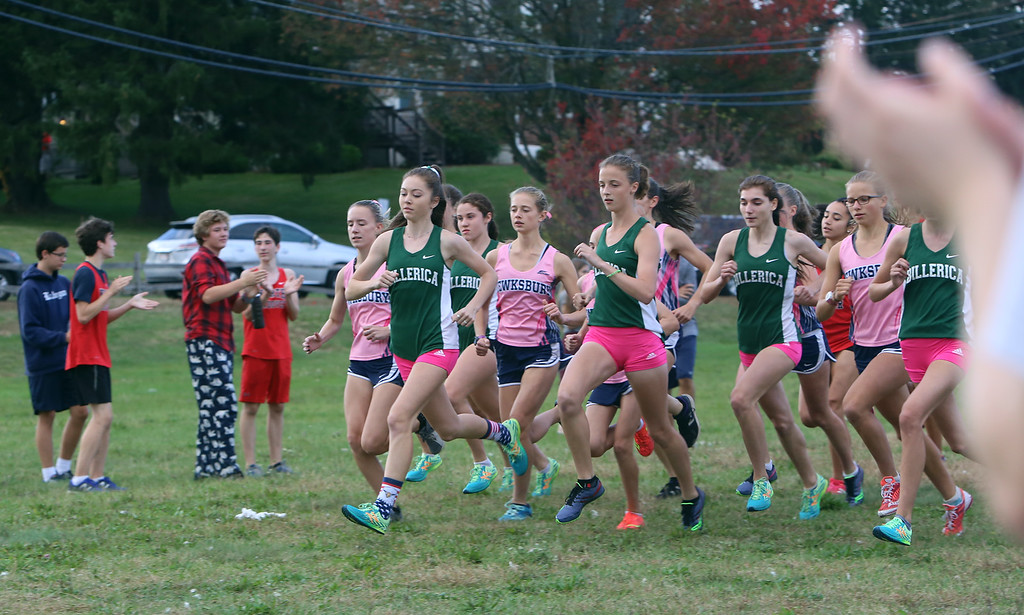 . Billerica hosts cross country meet with Tewksbury and North Andover, at Vietnam Veterans Park. Start of girls race. (SUN/Julia Malakie)