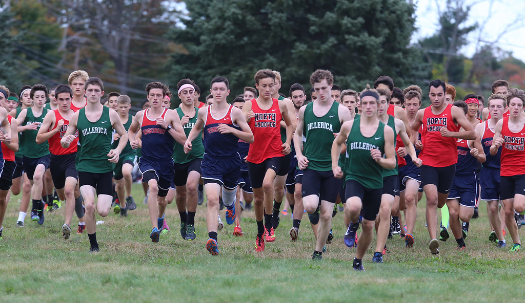 . Billerica hosts cross country meet with Tewksbury and North Andover, at Vietnam Veterans Park. Start of boys race. (SUN/Julia Malakie)