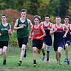 Billerica hosts cross country meet with Tewksbury and North Andover, at Vietnam Veterans Park. From left, Shawn Stairs and Jacob Loftin of Billerica, Jack Bicksler of North Andover, and Pat Carleton, Alec Hirtle and Joey Forest of Tewksbury, in the middle of the race. (SUN/Julia Malakie)