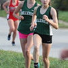 Billerica hosts cross country meet with Tewksbury and North Andover, at Vietnam Veterans Park. Kayley Mace, left, and Danielle Sullivan, of Billerica, in middle of the race. (SUN/Julia Malakie)